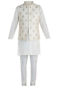 Cream Embroidered Waist Coat with Kurta and Pants by Vanshik