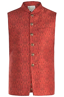 Rust Digital Printed Waist Coat by Vanshik