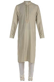 Mint Embroidered Kurta with Pants by Vanshik