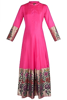 Pink Rose Paithani Anarkali Gown