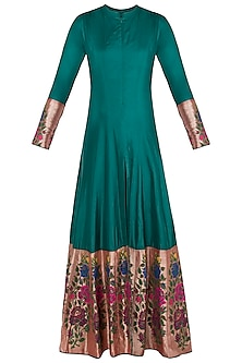Green Rose Paithani Anarkali Gown with Pants