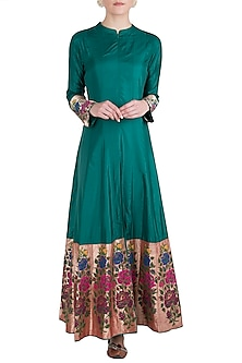 Green Rose Paithani Anarkali Gown with Pants by Vishwa By Pinki Sinha