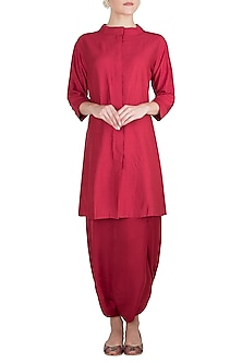 Red Muga Silk Kurta with Dhoti Pants by Vishwa By Pinki Sinha