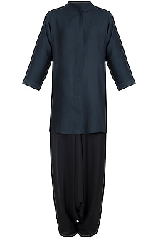 Black Muga Silk Kurta with Dhoti Pants