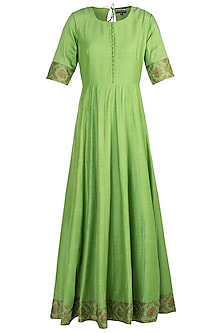 Green Handwoven Banarasi Anarkali Gown