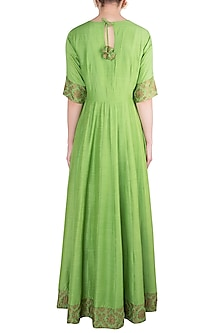 Green Handwoven Banarasi Anarkali Gown by Vishwa By Pinki Sinha