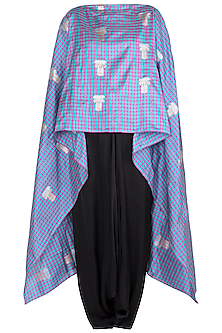 Blue Handwoven Cape with Dhoti Pants by Vishwa By Pinki Sinha