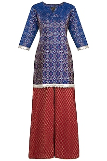 Red Ikkat Silk Kurta with Sharara Pants
