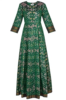 Green Handwoven Ikkat Anarkali Gown
