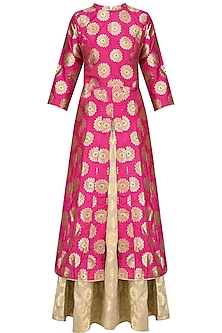 Pink Brocade Kali Kurta and Banarsi Skirt Set