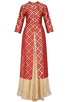 Red Brocade Kurta Jacket and Tissue Skirt Set