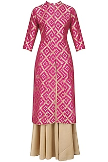 Pink Brocade Kali Kurta and Gold Skirt Set by Vishwa by Pinki Sinha