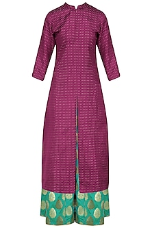 Magenta Tanchoi Kurta and Brocade Palazzo Pants Set