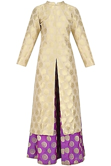 Beige Brocade Kurta Jacket and Sharara Pants Set