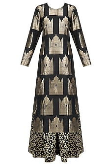 Black Taj Mahal Kurta and Palazzo Pants Set