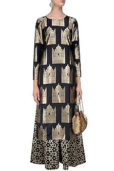Black Taj Mahal Kurta and Palazzo Pants Set by Vishwa by Pinki Sinha