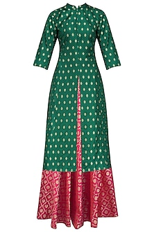 Green Tanchoi Kurta and Brocade Skirt Set