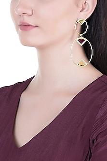 Gold Plated Handmade Peridot, Pink Quartz & Citrine Earrings by Varnika Arora