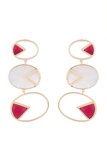 Gold Plated Handmade Pink Quartz & White MOP Geometric Earrings by Varnika Arora