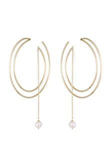 Gold Plated Handmade Pearl Hoop Earrings by Varnika Arora