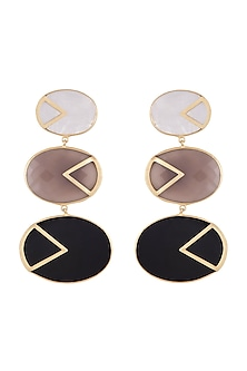 Gold Plated Handmade Grey Onyx, Black Onyx & White Mop Earrings by Varnika Arora