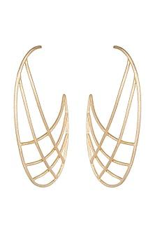 Gold Plated Handmade Hoop Earrings by Varnika Arora