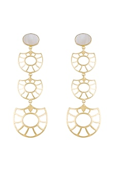Gold Plated Handmade White MOP Earrings by Varnika Arora