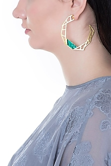 Gold Plated Handmade Malachite Stone Hoop Earrings by Varnika Arora