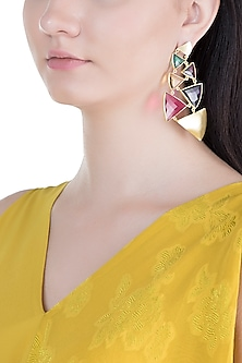 Gold Plated Handmade Pink Quartz, Amethyst, Emerald Green & Citrine Stone Earrings by Varnika Arora
