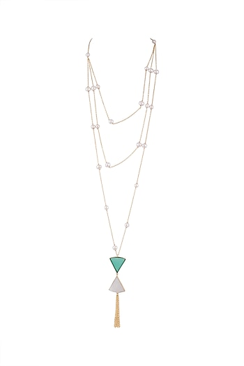 Gold Plated Handmade White, Green Onyx & White MOP Long Necklace by Varnika Arora