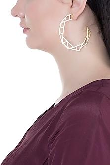 Gold Plated Handmade Big Hoop Earrings by Varnika Arora
