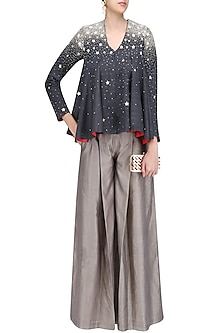 Charcoal Grey Embroidered Jacket with Beige Gold Angasutra Pants by Vineet Rahul