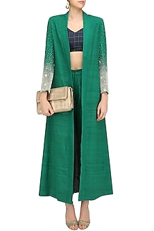 Green Embroidered Trench Coat with Sonjaal Bralette and Raw Silk Pants by Vineet Rahul
