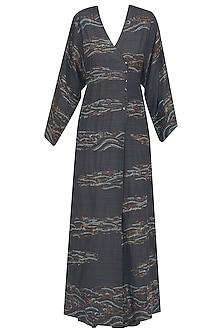 Charcoal Grey Embroidered Sonjal Kimono Dress by Vineet Rahul