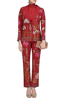 Red Embroidered Saundarya Srishti Pants and Jacket Set by Vineet Rahul