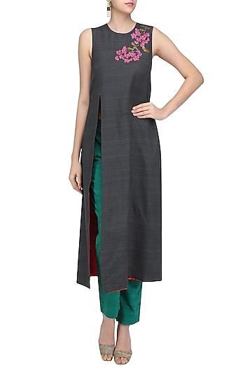 Charcoal Grey Embroidered Sonphool Sleeveless Tunic by Vineet Rahul