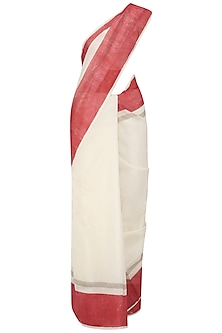 Ivory and Red Hand Blocked Print Saree with Underskirt
