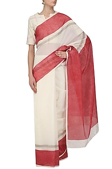 Ivory and Red Hand Blocked Print Saree with Underskirt by Vineet Rahul
