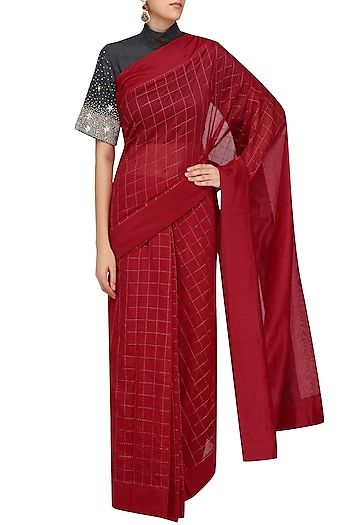Red Embroidered Sonjaal Sari with Charcoal Grey Blouse by Vineet Rahul