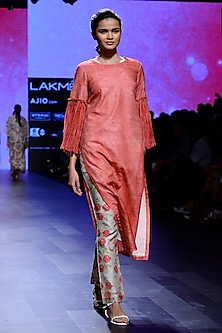 Red Block Printed Tunic and Pants Set
