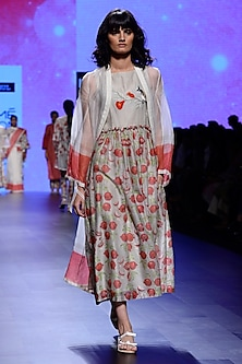 Ivory and Red Block Print Tunic and Cape Set