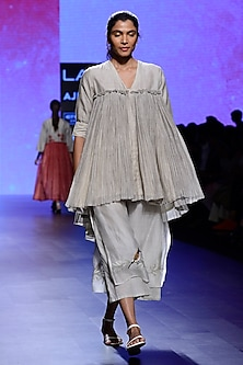 Ivory Block Print Tunic and Pants Set by Vineet Rahul