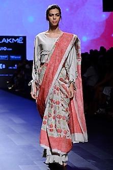 Ivory Block Print Skirt and Saree Set by Vineet Rahul