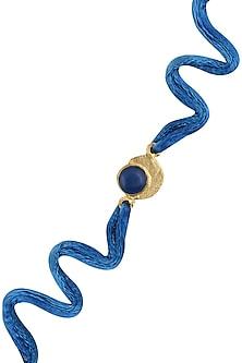 Blue Onyx Semi Precious Stone Statement Rakhi by Varnika Arora