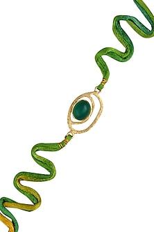 Green Onyx Semi Precious Stone Statement Rakhi by Varnika Arora