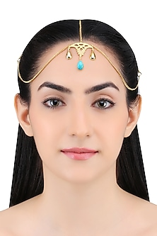 Gold Plated Arizona Turquoise Stone Statement Headgear by Varnika Arora