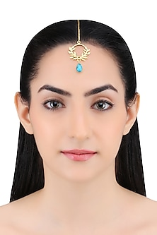 Gold Plated Arizona Turquoise Stone Maang Tikka by Varnika Arora