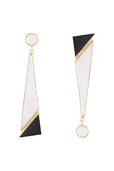 Gold Plated Handmade White MOP, Pearl & Black Onyx Earrings by Varnika Arora