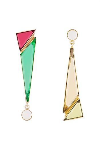 Gold Plated Handmade Pink Quartz & Emerald Geometric Earrings by Varnika Arora