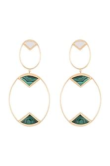Gold Plated Handmade Malachite & MOP Long Earrings by Varnika Arora